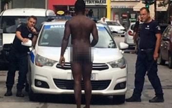 Γυμνός άντρας σταμάτησε μπροστά σε περιπολικό στη Λάρισα