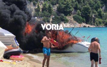 Έκρηξη σε σκάφος στη Χαλκιδική, τρεις τραυματίες