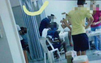 Φωτογραφία-ντοκουμέντο από χρήση ενδοφλέβιας σε ποδοσφαιρικά αποδυτήρια στην Κύπρο