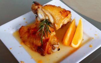 Κοτόπουλο με πορτοκάλι και κονιάκ