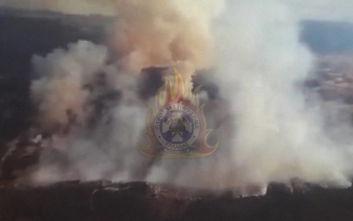 Η μεγάλη φωτιά στη Τανάγρα από... ψηλά