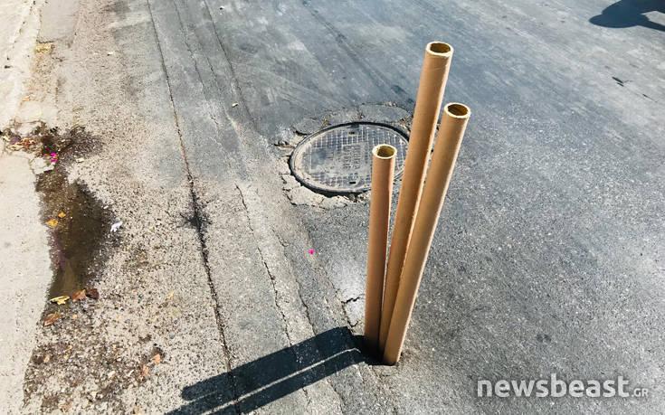 Η πατέντα με τους κυλίνδρους στη Λιοσίων για να κλείσουν την τρύπα – Newsbeast