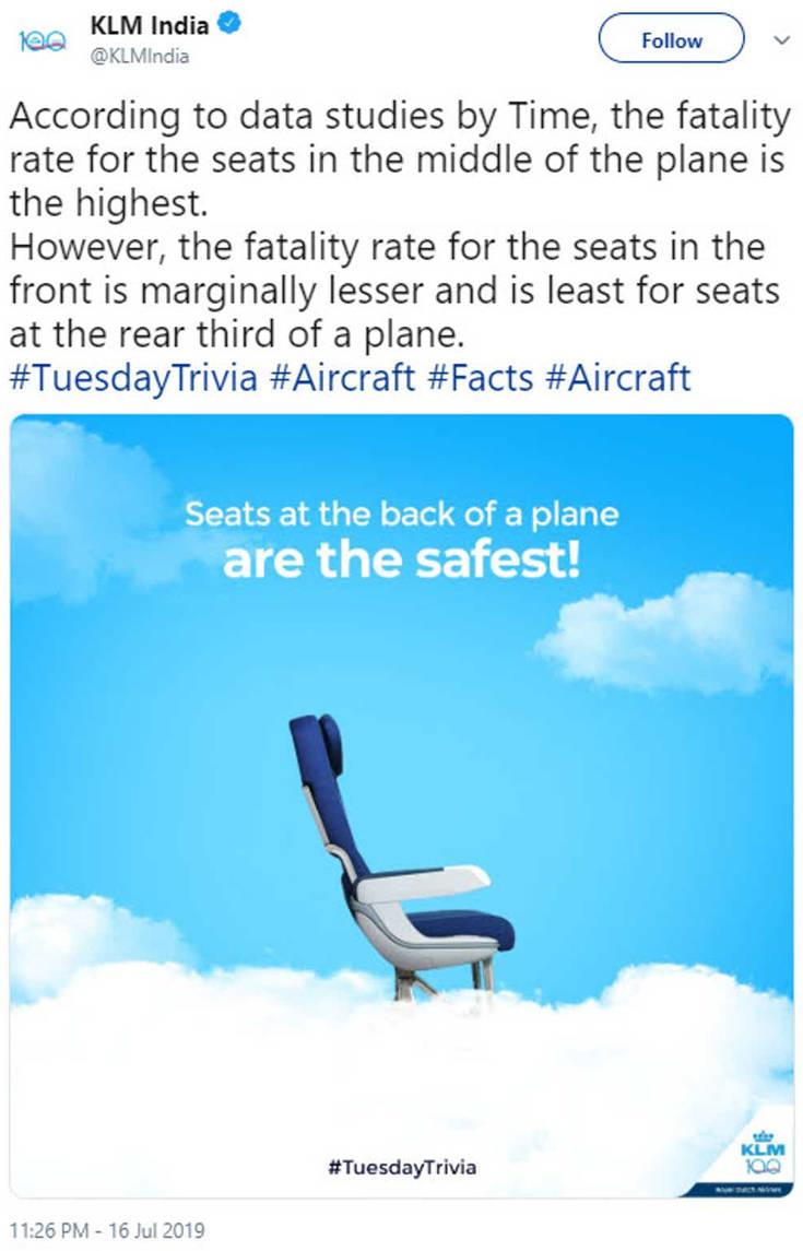 Το tweet αεροπορικής για τις θέσεις με τα μεγαλύτερα ποσοστά θνησιμότητας που προκάλεσε οργή