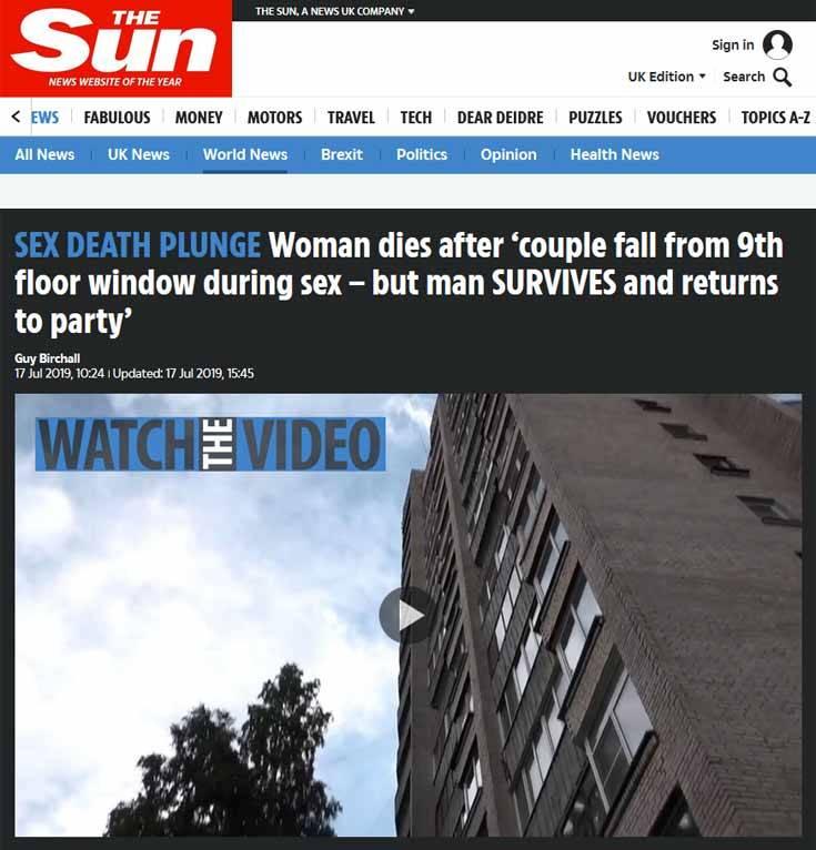 Ζευγάρι έπεσε από τον 9ο όροφο ενώ έκανε σεξ, νεκρή η γυναίκα