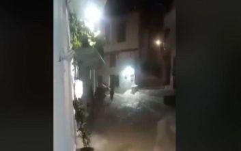 Η κακοκαιρία «Αντίνοος» σάρωσε τη Σκόπελο, χείμαρροι οι δρόμοι