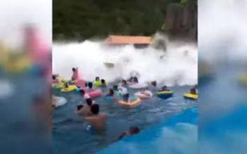 «Τσουνάμι» σε πισίνα σκόρπισε τον τρόμο και τραυμάτισε 44 ανθρώπους