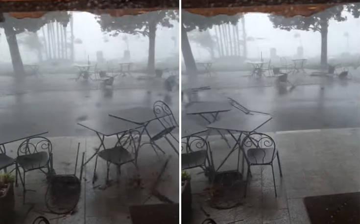 Τραπεζοκαθίσματα παρασύρονται από καταιγίδα σαν τραπουλόχαρτα