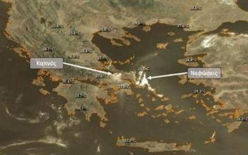 Έτσι φαίνεται από δορυφόρο η φωτιά στην Εύβοια
