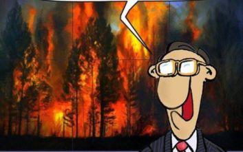Ο Αρκάς επανήλθε με σκίτσο για τις πυρκαγιές