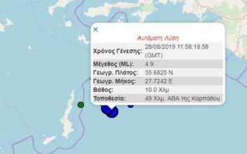 Σεισμός τώρα στα Δωδεκάνησα μεταξύ Ρόδου και Καρπάθου
