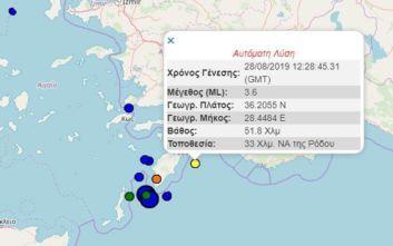 Νέος σεισμός τώρα στα Δωδεκάνησα κοντά στη Ρόδο