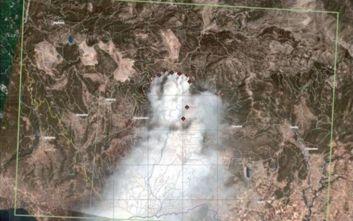 Η πρώτη δορυφορική φωτογραφία της φωτιάς στην Εύβοια από την υπηρεσία Copernicus