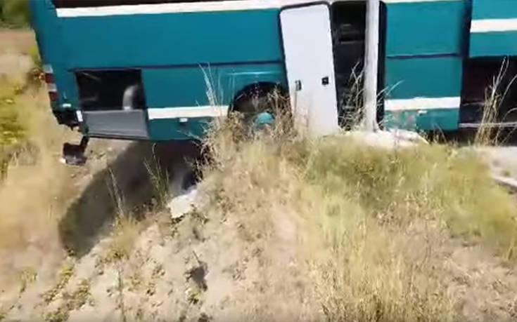 «Λύθηκε» το χειρόφρενο λεωφορείου και βρέθηκε στο χείλος του γκρεμού
