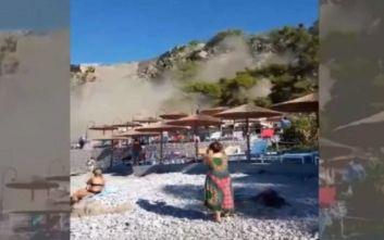H στιγμή της κατολίσθησης στην Αρβανιτιά Ναυπλίου