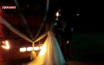 Ο ιδιαίτερος γάμος στη Βέροια και το κομβόι από νταλίκες