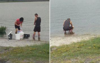 Υπάλληλοι εστιατορίου πιάστηκαν «να πλένουν μαγειρικά σκεύη» σε λίμνη