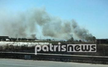 Κλειστή η Παλαιά Εθνική οδός από την φωτιά στη Νέα Μανωλάδα