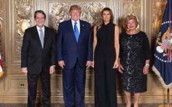 Η φωτογραφία του ζεύγους Αναστασιάδη με τη Μελάνια και τον Ντόναλντ Τραμπ