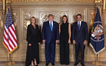 Με total black Μαρέβα Μητσοτάκη και Μελάνια Τραμπ