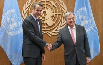 Κυπριακό και κλιματική αλλαγή στο επίκεντρο της συζήτησης Μητσοτάκη-Γκουτέρες