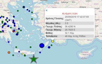 Σεισμός τώρα ανατολικά της Ρόδου