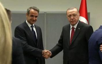 Αυτή την ώρα η συνάντηση Μητσοτάκη - Ερντογάν