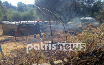 Φωτιά σε στάβλο σε χωριό του Πύργου, κάηκαν 100 μπάλες σανού