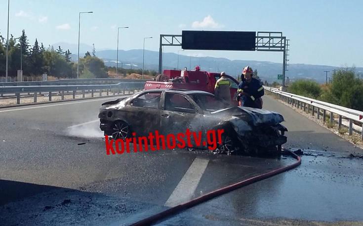 Τροχαίο στην Κορίνθου-Πατρών με έναν νεκρό, αυτοκίνητο τυλίχθηκε στις φλόγες