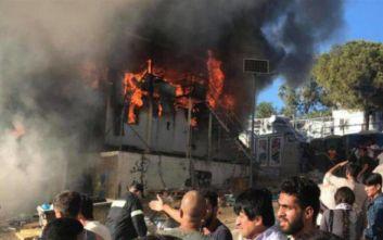 Μυτιλήνη: Επεισόδια στη Μόρια μετά την εκδήλωση πυρκαγιάς εντός του καταυλισμού