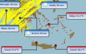 Καιρός: Έπεσαν 27.000 κεραυνοί, έριξε «καρέκλες» και στην Κρήτη είχε 38 βαθμούς