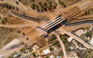 Τα αντιπλημμυρικά έργα στη Μάνδρα από ψηλά