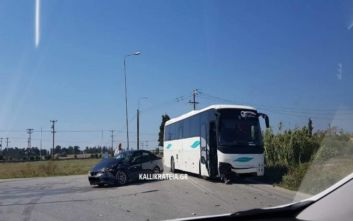 Tροχαίο με λεωφορείο που μετέφερε μαθητές στη Χαλκιδική