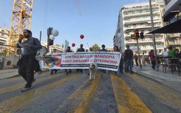 Πορεία για την κατάσταση στον ΟΑΣΘ στο κέντρο της Θεσσαλονίκης