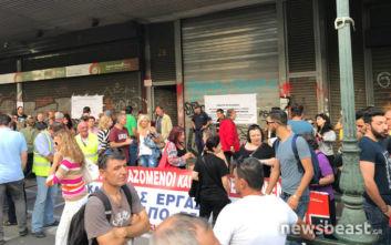 Συγκέντρωση διαμαρτυρίας εργαζομένων σε ΟΤΑ και στην κοινωφελή εργασία