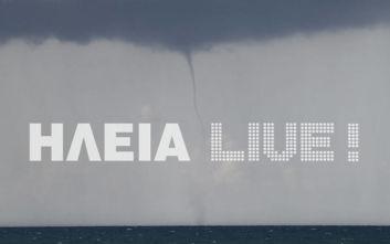 Καιρός: Εντυπωσιακές εικόνες από υδροστρόβιλους και ανεμοστρόβιλο στον Κυπαρισσιακό