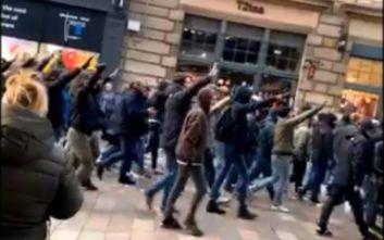 Ναζιστικοί χαιρετισμοί από τους οπαδούς της Λάτσιο στο κέντρο της Γλασκώβης