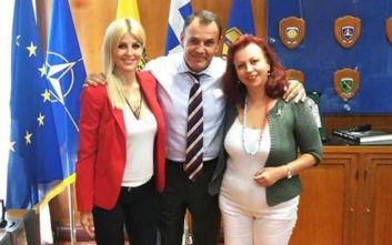 Συνάντηση Έλενας Ράπτη - Νίκου Παναγιωτόπουλου στο υπουργείο Εθνικής Άμυνας