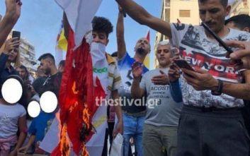 Κούρδοι έκαψαν τουρκική σημαία στη Θεσσαλονίκη