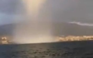 Εντυπωσιακό βίντεο από τον υδροστρόβιλο που χτύπησε την Χίο