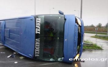 Βέροια: Ανατροπή τουριστικού λεωφορείου