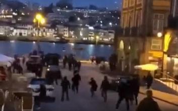 Ξύλο και καρεκλοπόλεμος μεταξύ Άγγλων και Βέλγων οπαδών στο Πόρτο