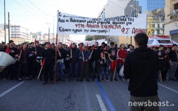 Πολυτεχνείο: Ένταση στο συλλαλητήριο, ζημιές σε βιτρίνες στη Βουκουρεστίου