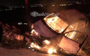 Χανιά: Γλίτωσε από τον γκρεμό κι από το φλεγόμενο όχημά του