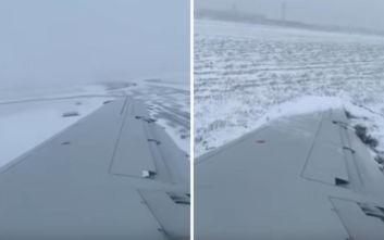 Αεροπλάνο γλιστράει σε παγωμένο διάδρομο και προκαλεί πανικό
