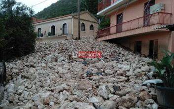 Κακοκαιρία Βικτώρια: Βομβαρδισμένο τοπίο το χωριό Νύφι στην Κεφαλονιά