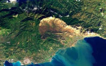 Οι πλημμύρες στην Κινέτα από δορυφόρο