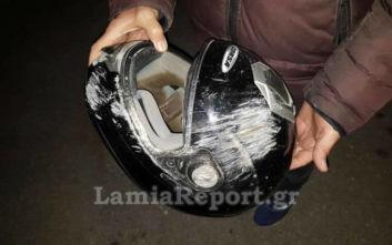 Λαμία: Σοβαρό τροχαίο με βαν και μηχανή - Τον έσωσε το κράνος