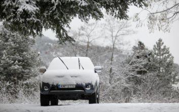 Κακοκαιρία Ζηνοβία: Πυκνή χιονόπτωση στην Θήβα, πού χρειάζονται αλυσίδες