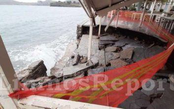 Καταστροφές στη Λήμνο από τους θυελλώδεις ανέμους και τα κύματα