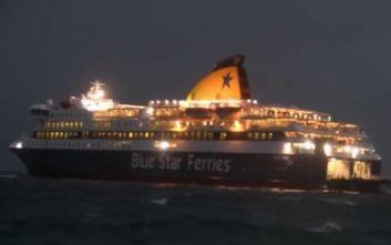 Συγκλονιστικό βίντεο: Μάχη του Blue Star Delos με τα μανιασμένα κύματα στη Νάξο